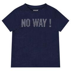 Camiseta de manga corta de punto con mensaje estampado