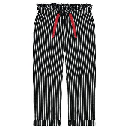 Pantalón con forro de punto, rayas y cordones que contrastan