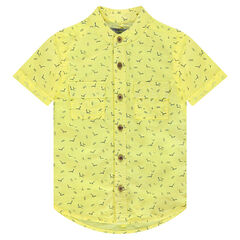 Camisa de manga corta de algodón ligero con estampado all-over