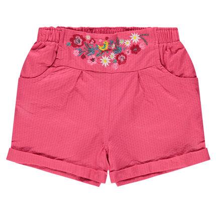 Pantalón corto de fantasía con flores bordadas