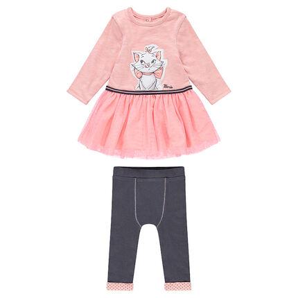 Conjunto de vestido de manga larga de tul y leggings de punto