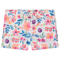 Short de crepé de flores all-over y lazo
