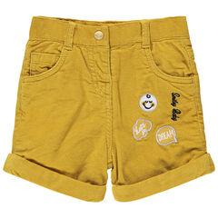 Pantalón corto acanalado con parches de Smiley