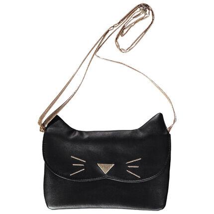 Bolso de bandolera con forma de gato y bordados
