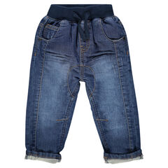 Jeans fouche basse effet used et crinkle