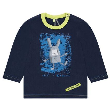 Camiseta con estampado de conejo en el espacio