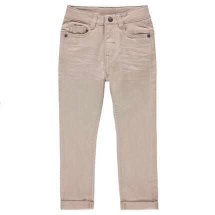 Pantalón de sarga con efecto arrugado liso