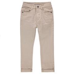 Júnior - Pantalón de sarga lisa con efecto arrugado
