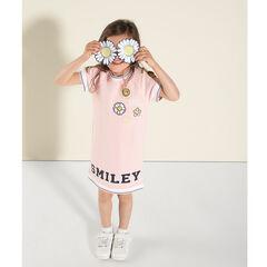 Vestido de manga corta con forma de camiseta con bordados y estampado de Smiley