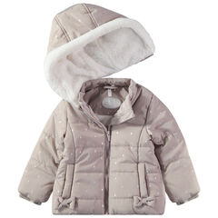 Anorak acolchado con capucha desmontable y forro de borreguito