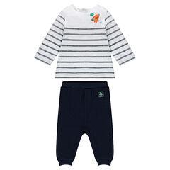 Conjunto de camiseta de manga larga de rayas y pantalón estampado