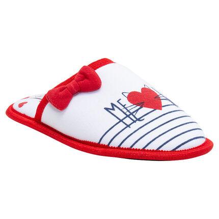 Zapatillas bajas con rayas y lazo de terciopelo