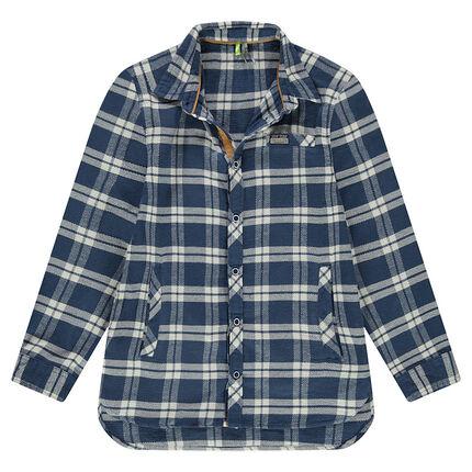 Júnior - Camisa de manga larga de franela de cuadros que contrastan