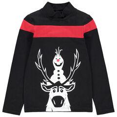 Camiseta de interior con cuello subido y personajes estampados de estilo navideño