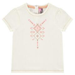 Camiseta de manga corta con estampado brillante