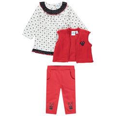 Conjunto de 3 piezas con túnica estampada all over, chaqueta y leggings Minnie Disney