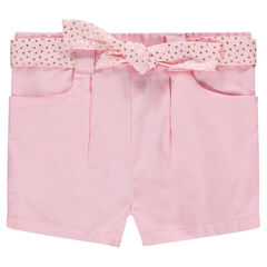 Pantalón de algodón con cinturón con lunares