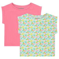 Júnior - Juego de 2 camisetas de manga corta con forma cuadrada de punto