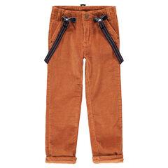 Pantalón de pana fina con tirantes elásticos desmontables