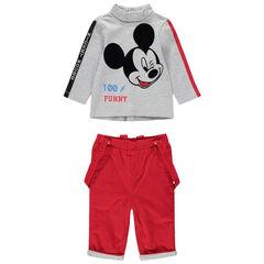 Conjunto con camiseta con estampado de Mickey y pantalón de terciopelo acanalado