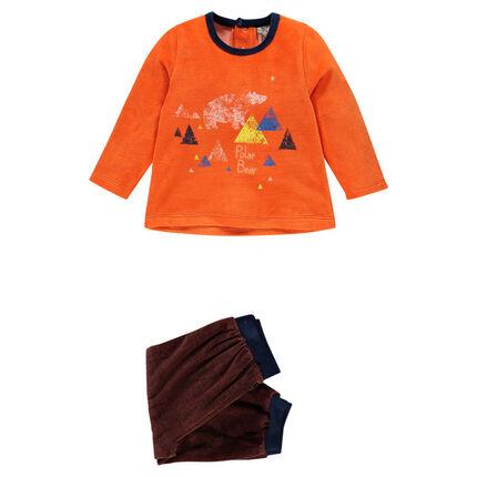 Pijama de terciopelo con oso