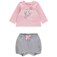 Conjunto con camiseta de manga larga y estampado Smiley con pantalón corto gris