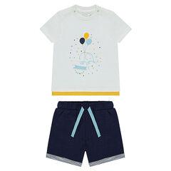 Conjunto de camiseta con estampado de elefante y pantalón de felpa