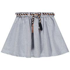 Falda de patinadora de algodón de fantasía con cinturón trenzado