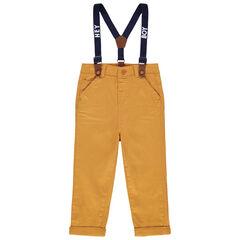 Pantalon droit uni à bretelles