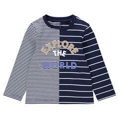 Camiseta de manga larga de rayas con inscripción de rizo