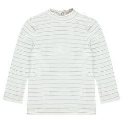 Camiseta interior de rayas con acanalado y cuello subido