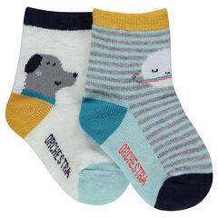 Juego de 2 pares de calcetines variados con rayas y animales estampados
