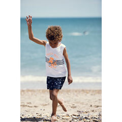 Camiseta sin mangas en algodón orgánico rayas print animal , Orchestra