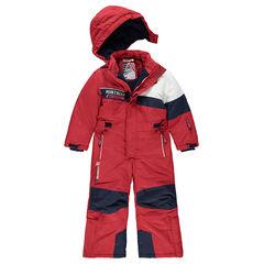 Mono de esquí tricolor con forro de micropolar y bolsillos con cremallera