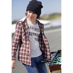 Júnior - Camisa de manga larga a cuadros de franela y con capucha