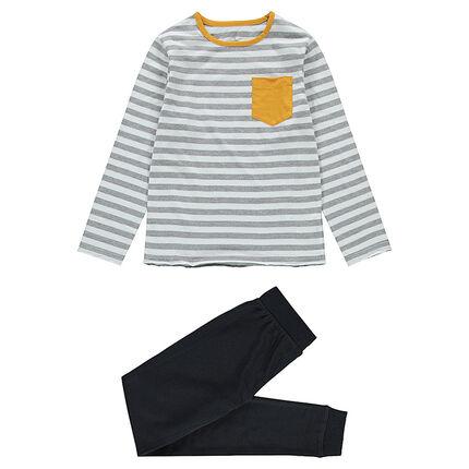 Júnior - Pijama de punto con parte superior a rayas y pantalón con texto estampado