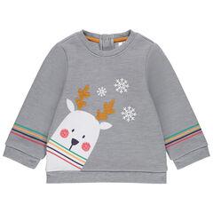 Sudadera de felpa de fantasía con animal de estilo navideño contracolado de borreguillo