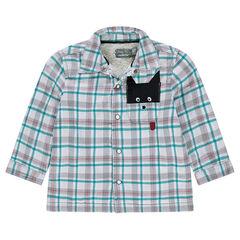 Camisa de franela de cuadros con forro de borregugillo y bolsillo de fantasía