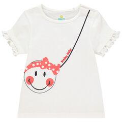 T-shirt manches courtes en coton bio motif Smiley pailleté , Orchestra