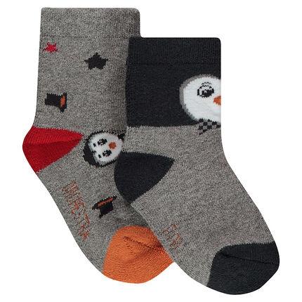 Juego de 2 pares de calcetines variados con motivo de pingüinos de jácquard