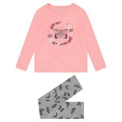 Júnior - Pijama de punto bicolor con mariposas estampadas