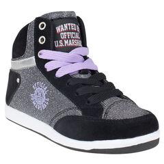 Zapatillas de deporte de caña alta con cordones US Marshall de color plateado con cremallera