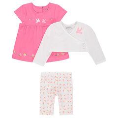 Conjunto de túnica, bolero con print y leggings cortos estampados