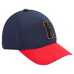 Gorra de sarga bicolor con letra cosida