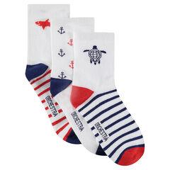 Juego de 3 pares de calcetines con dibujo de jacquard y rayas