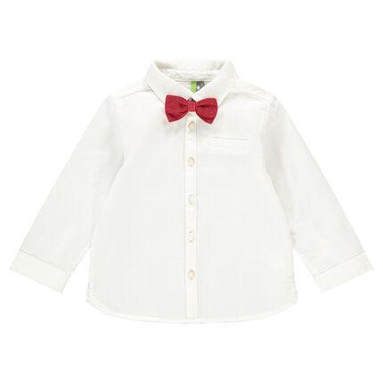Camisa de manga larga de algodón de fantasía con lazo desmontable