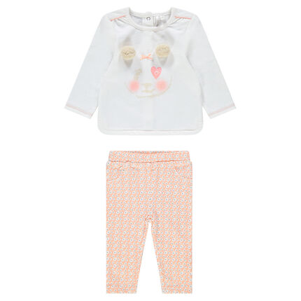 Conjunto con camiseta con estampado de panda y jeggngs estampados con flores all over