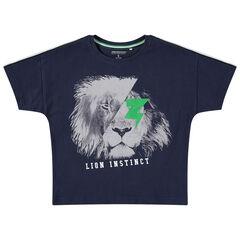 Camiseta de manga corta de punto con estampado de león