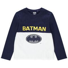 Camiseta de manga larga de algodón ecológico con logo Warner Batman de lentejuelas mágicas