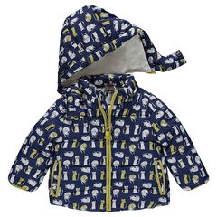 Anorak acolchado con forro de sherpa y estampado all over